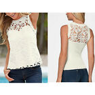 Women White Lace Ruffle Sexy Sleeveless Blouse Hollow-out Top Tee Vest Shirt