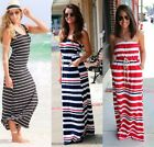 Sexy Womens Summer Boho Stripe Long Maxi Evening Party Beach Dress Plus Size
