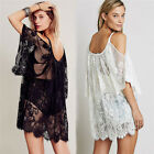 Sexy Summer Strap Sheer Floral Lace Embroidered Crochet  Boho Dresses Beach Wear