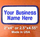 Custom Embroidered Name Patch Embroidery Name Tag Biker Badge 2 Lines Wh/royal