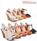 Women's Fashion Buckle Open Toe T- Strap Wedge Platform Sandal Shoes Size 5 -10