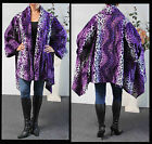 Plus size Purple Color Asymmetrical Velboa Warm (Velvet)Swing Jacket Coat.