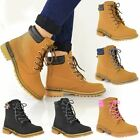 NEW WOMENS LADIES FLAT LACE UP ANKLE BOOTS WORK ARMY LIGHT WEIGHT SHOES SIZE