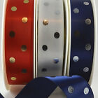 Spotted Satin Decorative Ribbon Popular Colours 25mm Wide - By The Metre