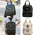 NEW WOMEN'S LADIES FAUX LEATHER STUDDED MULTI FUNCTION BACKPACK, CROSS BAG
