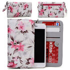 Womens Flower Pattern Wallet Case Cover for Smart Cell Phones by KroO ESMLF-24