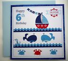Personalised Children's hand made Birthday card / any age / name. Nautical theme