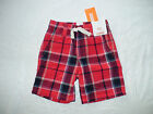 NWT GYMBOREE ISLAND CRUISE RED NAVY PLAID ELASTIC WAIST SHORTS 4TH OF JULY