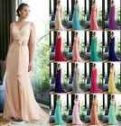 New Bridesmaid Formal Long Ball Gown Party Prom Evening Dress Size Stock 6-26