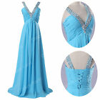 Clearance Long Sky Blue Wedding Dress Bridal Ball gown Prom Party Evening Formal