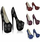 WOMENS PLATFORM HIGH HEELS DIAMANTE SKULL EMBELLISHED COURT SHOES SIZES 3-8