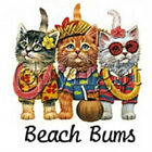 Hawaiian Beach Bums Cats Ladies T Shirt  All Size (247)