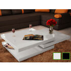 New Coffee Table 3 Layers High Gloss Contemporary Furniture Square White/Black✓