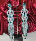 Beautiful New Long Peacock Swirl Diamante Earrings Bridal Party CostumeJewellery