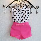 Kids Baby Girls Blue Pink Polka Dot 2Pcs Top+Pants Outfits Costume Clothes 2-6Y