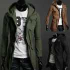 FREE P&P Mens LONG Military Trench Coat Winter Jacket Hooded Overcoat Outwear