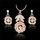 Tempting 18K Gold Plated Crystal Hollow Rose Flower Pendant Earrings Jewelry Set