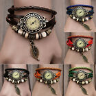 Women Fashion Handmade Leather Bracelet Leaf Decoration Quartz Wrist Watch AL