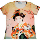 Geisha with Sensu Fan Japan Art Print T-shirt Miss Cap Sleeve S M L XL NEW P&N