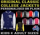 Personalised FRONT College Varsity Jacket Baseball KIDS & ADULTS birthday gift