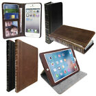 Classic Vintage Book style leather Wallet Case Cover for Phones Tablets
