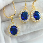 Wholesale Price, Sapphire Cubic Zirconia Oval Shape Necklace/Earrings Set