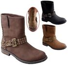 New Women's Studded Low Calf Boots w/ Buckles, Split Top Black Tan Brown 5.5 - 9