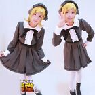 NEW HOT SELL!VOCALOID Kagamine Rin Cosplay Costume Fashion Brown Dress