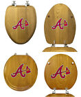 MLB TEAM LOGO THEME OAK FINISH WOOD ROUND OR ELONGATED TOILET SEAT COVER LID