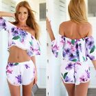 New Hot #B Women flower Print Dress short Sleeve Off Shoulder party Club Dress