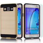 Hybrid Brushed Armor Case Cover + Glass Screen Protector For Samsung Galaxy On5