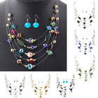 Vintage Bohemian Jewelry Multilayer Crystal Necklace with Earrings Set