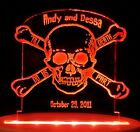 Personalized Skull & Crossbones  Wedding Cake Topper Optional LED Light base
