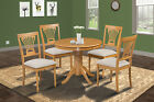 "36"" ROUND DINETTE KITCHEN DINING ROOM TABLE CHAIR SET IN OAK FINISH"