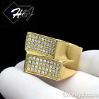 MEN's Stainless Steel 2.16 Carat CZ Iced Out Bling Gold Tone Ring Size 8-12*GR95