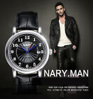 Nary Classic Automatic Mechanical Watch Gift For Men Leather Band Calendar S216