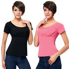 Fashion Women's Short Sleeve Scoop Neck Cotton T-Shirt Tops Casual Summer Blouse