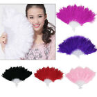 Black Red Purple & White Feather Hand Fan Ladies Burlesque Fancy Dress Costume