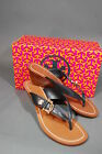 Tory Burch Nora Wedge Sandals Navy Blue Leather Gold Buckle 50MM NIB