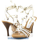 Strappy Sexy Ankle Tie Hot Stiletto Sandal White Gold
