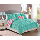 Modern Turquoise Girls Teens Pinched 4-PC Reversible Chevron Comforter Set