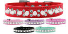Double Crystal and White Spikes Dog Collar