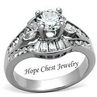 MJS SILVER STAINLESS STEEL 1.45 CT ROUND CUT CZ ENGAGEMENT RING - SIZE 7, 9, 10