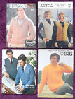 Various Knitting Patterns Mens Sweater Pullover - Choose from Drop-down Menu