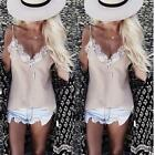 Summer Womens Loose Casual Strappy Sleeveless Lace Shirt Tops Blouse Ladies Tops