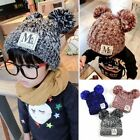 Winter Baby Kid Children Labelling Colormixed Thermal Wollen Ball Floppy Hat Cap