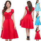NEW WOMENS 40's 50's RETRO VINTAGE FLARED KNEE LENGTH TEA DANCE DRESS