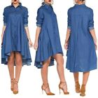 Vintage Sexy Women Lady Loose Long Sleeve Denim Shirt Dress Casual Jeans Dress