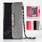 Luxury Bling Diamond Crystal Leather Handbag Flip Wallet Strap Cards Case Cover