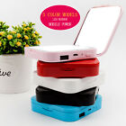 Portable Cute External Battery USB Charger Power Bank+LED Makeup Cosmetic Mirror